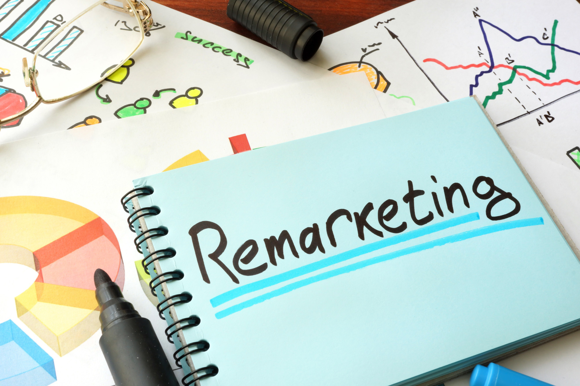 remarketing text on notebook