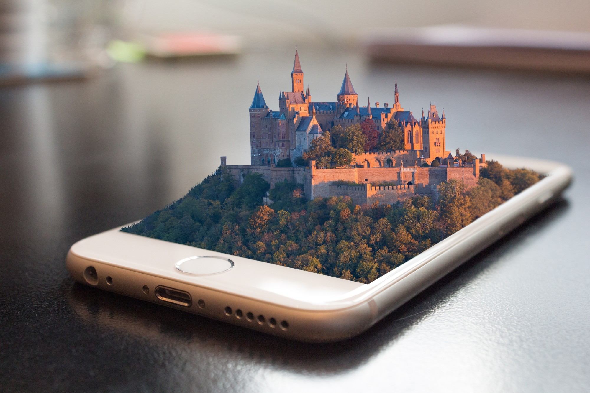 castle design on mobile phone