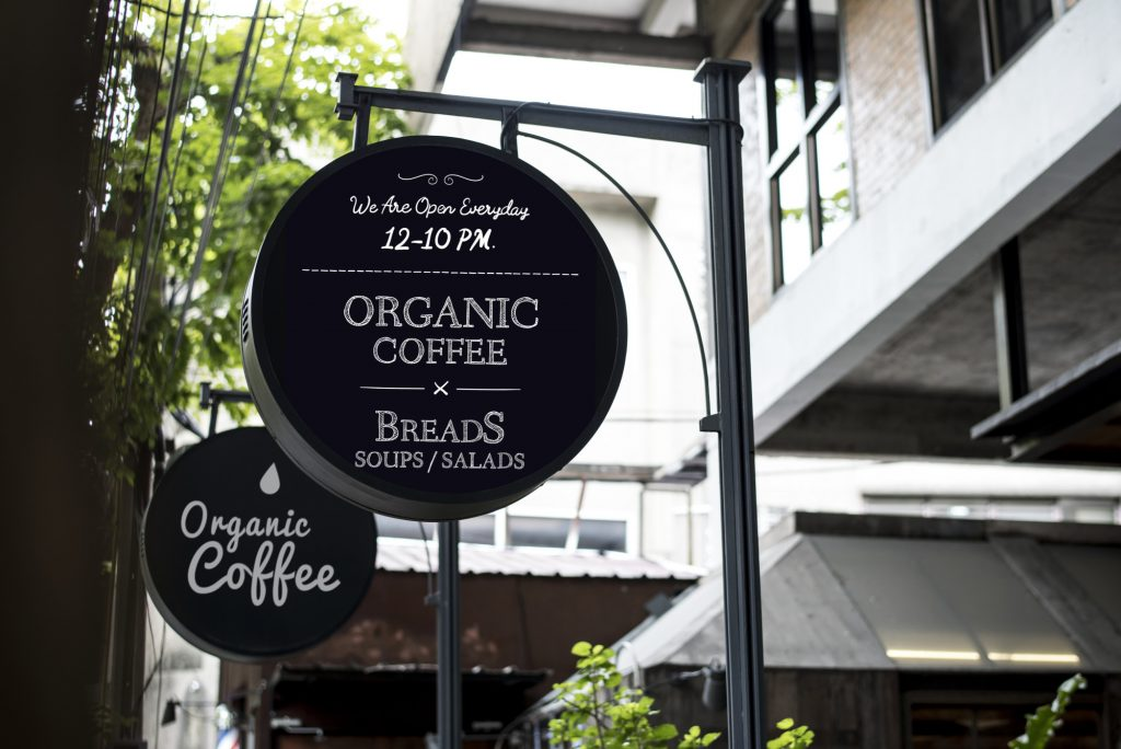 business sign for coffee and bread