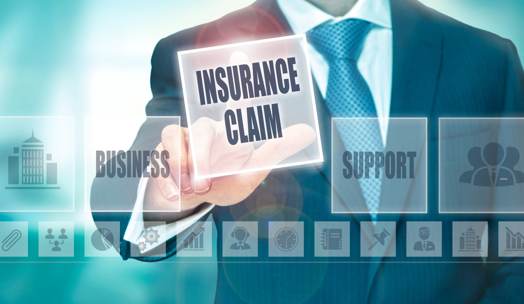 insurance claim and related text and icons