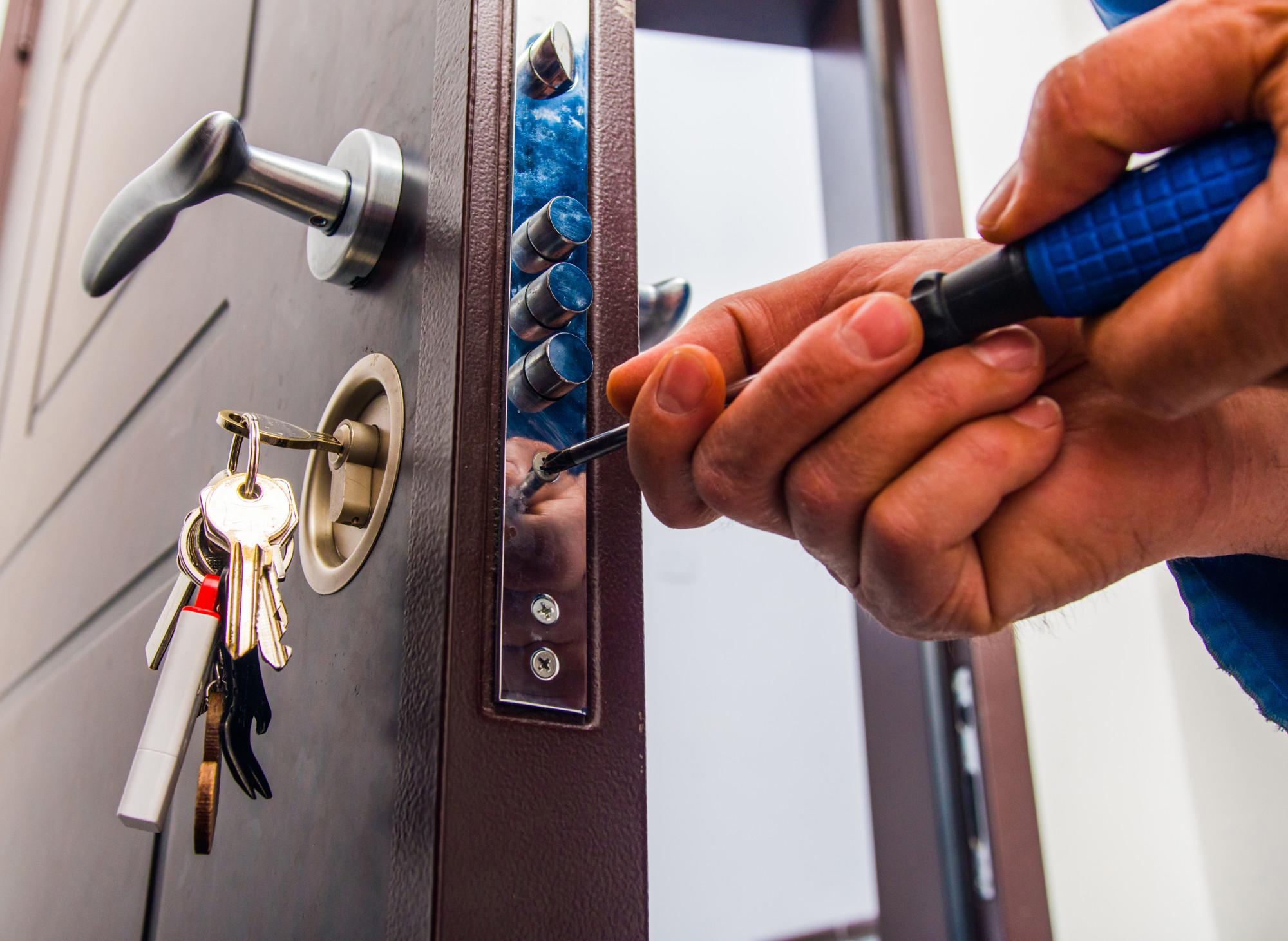 person installing lock