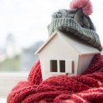 house in warm scarf and hat