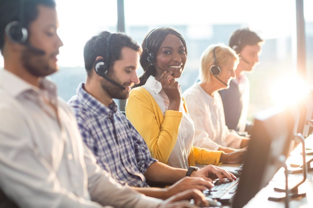 call center employees at desk