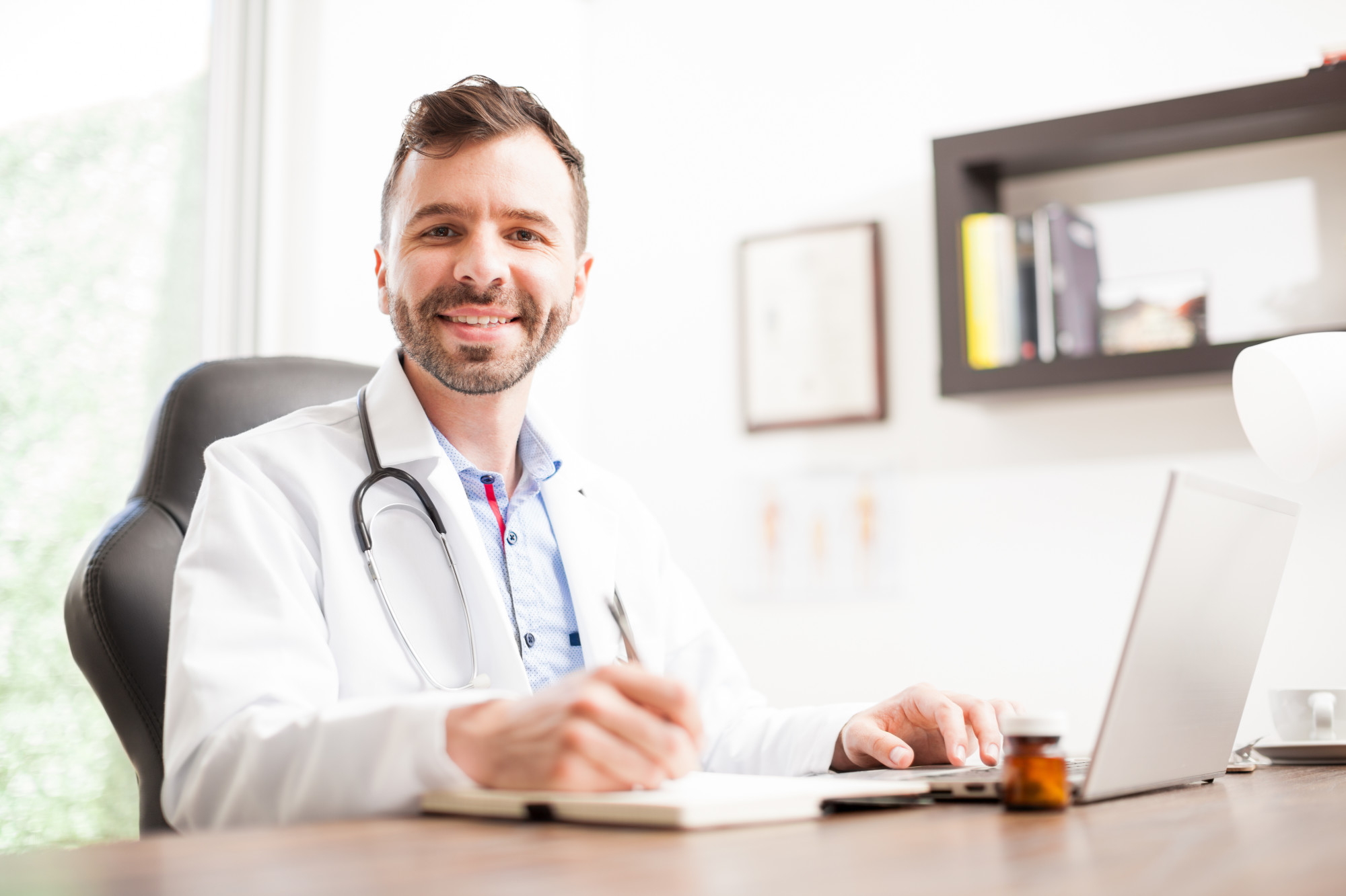 Medical Professional in His Office